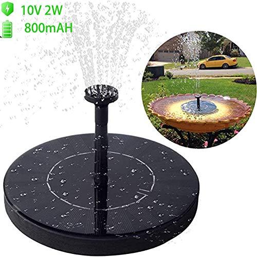 Fontein op zonne-energie, verticale waterpomp voor vogels en badkuipen, solarvogelbadfontein met bufferbatterij, 10 V 2 W, zonnepaneel-dompelpomp voor tuin, zwembad