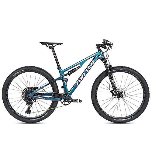 YALIXI Bicicleta de montaña 29 Pulgadas Bicicleta de montaña Hombre Doble Fibra de Carbono Amortiguador de Cola Suave Bicicleta de montaña suspensión Todoterreno Adulto, Cuadro de Cambio de Color