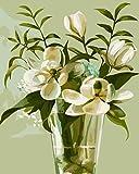 YEESAM ART Neuerscheinungen Malen nach Zahlen für Erwachsene Kinder - Glas Blumen Vase Magnolie 16...