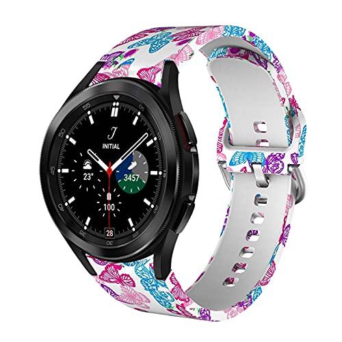 VeveXiao Correa compatible con Samsung Galaxy Watch 4 40 mm/44 mm, correas de repuesto de silicona suave impresas para Galaxy Watch 4 Classic 42 mm/46 mm,