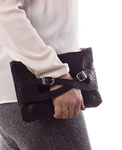 Handmade Black leather wristlet cross clutch envelope purse, evening pouch, woman