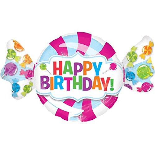 paduTec Ballon XXL Folienballon Luftballon - Bonbon Süßigkeiten Happy Birthday - Geburtstag Kindergeburtstag Überraschung Deko - geeignet zur befüllung mit Luft oder Helium Gas
