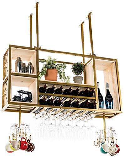 Zjnhl Wine Lovers Bar Furniture& Modern Dining Room Ceiling Wine Racks/Bottle and Glass Holder/Hanging Stemware Glass Holder/LOFT Vintage Wall Shelf Storage Rack/Wall-Mounted for Living Room Decor b