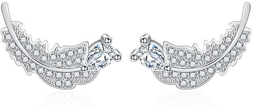 Cuff Earringswhite Diamond Leaves Earrings Earrings