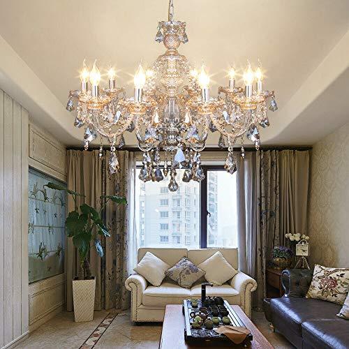 Samger Samger Lussuoso lampadario a bracci K9 Lampadario in cristallo di cristallo lampada a sospensione colore cognac per soggiorno