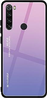Funda para Xiaomi Mi Redmi Note 8, ZYZX con patrón de vidrio templado degradado híbrido, delgada, cubierta trasera resistente a los arañazos, borde suave de TPU, funda para teléfono móvil para Mi Redmi Note 8 (rosa degradado)