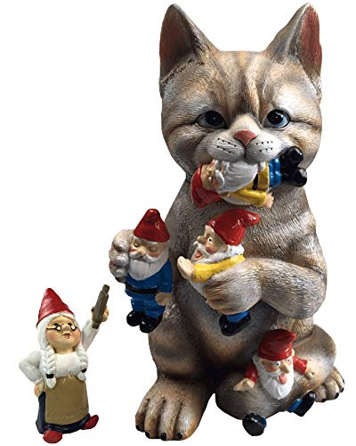 By Mark & Margot - Mischievous Cat Garden Gnome Statue Figurine - Best Art Décor for Indoor Outdoor Home Or Office