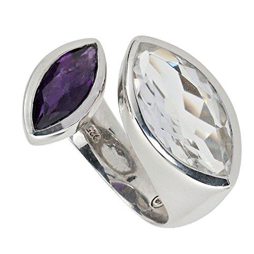 Yvesse Damen Ring Sterling-Silber 925 rhodiniert Bergkristall Amethyst RW16