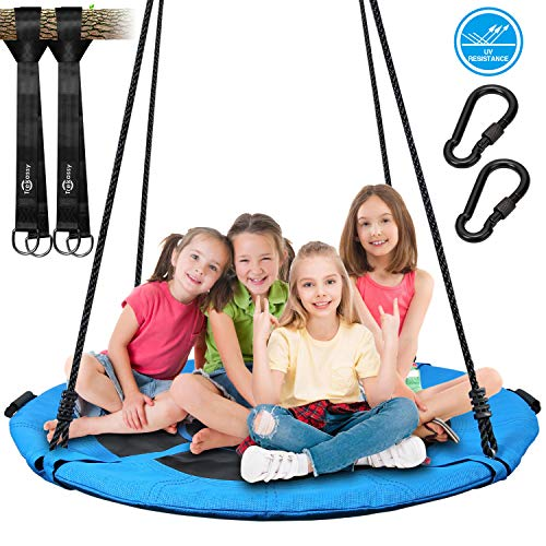 Trekassy 700lb 45 Inch Saucer Tree Swing for Kids Adults Textilene Age-Resistant with 2pcs 10ft Tree Hanging Straps, Steel Frame and Adjustable Ropes-Blue