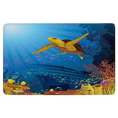 Ocean Decor Area Rug,Colored Coral Reef with Silhouette School of Fish and Turtle Underwater Nature Art,for Living Room Bedroom Dining Room,7'x 5',Yellow Orange Navy