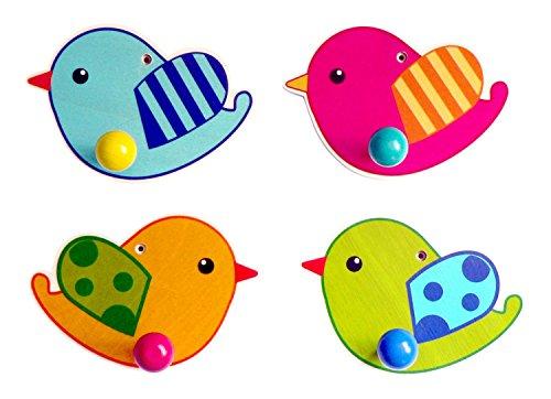 Hess houten speelgoed 30313 - Garderobe vogel van hout, 12 cm (verschillende kleuren)