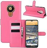 Lapinette Hülle Kompatibel mit Nokia 5.3 - Schutzhülle Klappbar Stoßfeste Folio - Lederhülle Nokia 5.3 - Wallet Kartenfächer Standfunktion Magnet Rosa