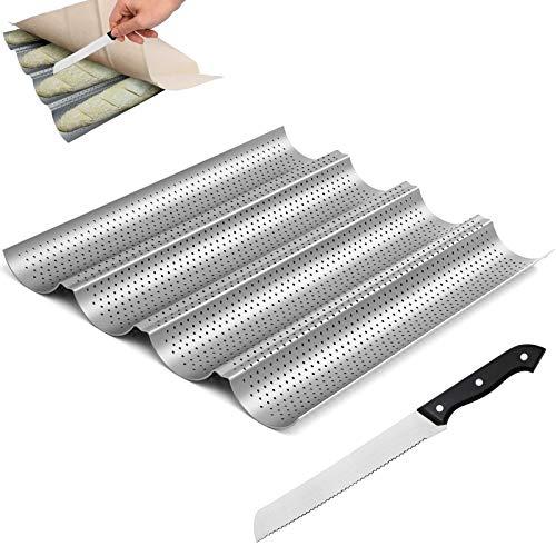 WZYTEU Bandeja de horno para baguette y cuchillo de pan con filo ondulado, antiadherente, de acero inoxidable (38 x 32,5 x 2,5 cm)
