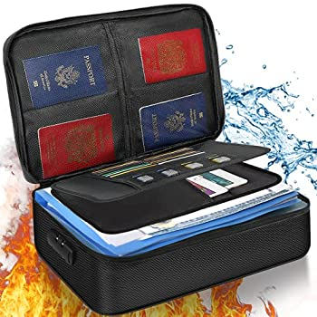Noiposi File Organizer Bag  Fireproof Document Bag with Lock ,Home Office Safe Document Organizer with Handle  Portable Filing Storage Box Holder for Documents ,File,Passport & Certificate