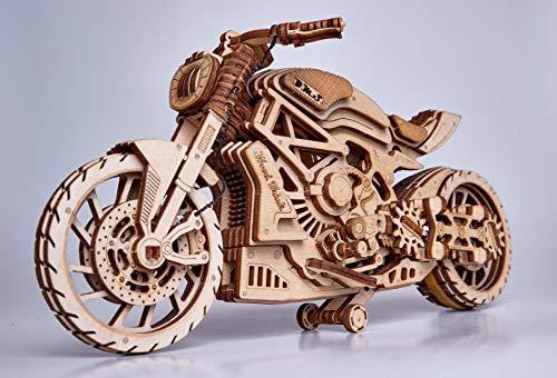 Wood Trick 3D Puzzle Holz Traktor Safari Car Gabelstapler Lernspielzeug Modelbau Geschenk (Motorrad)