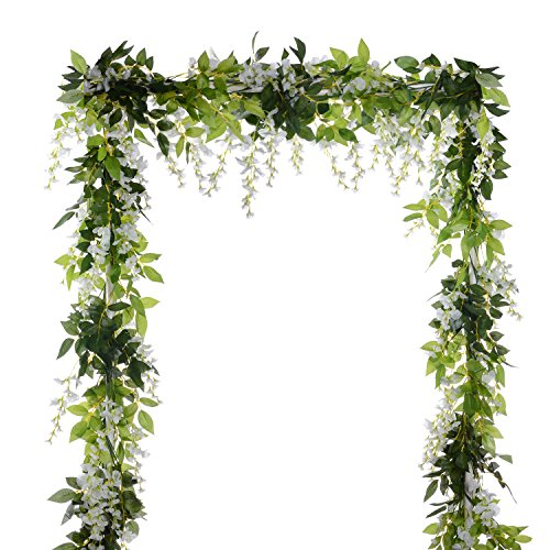 (White) - 4Pcs 2m/piece Artificial Flowers Silk Wisteria Garland-Dearhouse Artificial Wisteria Vine Ratta Silk Hanging Flower For Home Garden Outdoor Ceremony Wedding Arch Floral Decor (White)