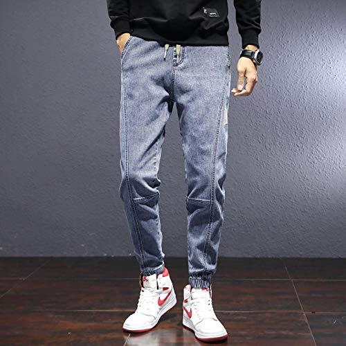 Vaqueros para Jeans Pantalones Otoño Invierno Casual Harem Pantalones Hombres Hombres Jeans Moda Patchwork Big Pocket Slim Jeans Moto Style Thicken Pantalones Hombre XXXL Azul