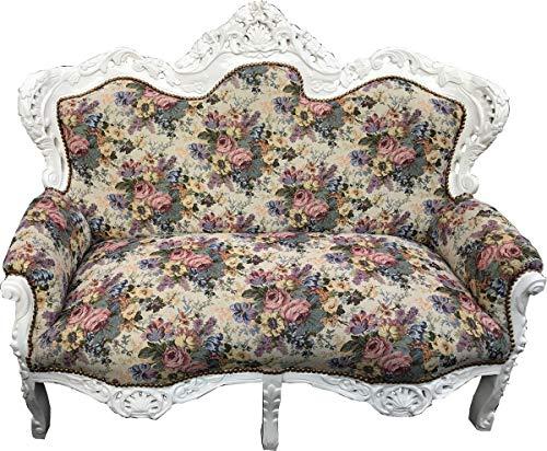 Barock 2er Sofa Master Blumen Muster/Weiss - Möbel Antik Stil