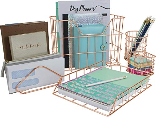 Sorbus Desk Organizer Set, Rose Gold 5-Piece Desk Accessories Set Includes Pencil Cup Holder, Letter Sorter, Letter Tray, Hanging File Organizer, and Sticky Note holder for Home or Office (Copper)