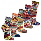 3 Paar bunte Norweger Hygge Socken 90prozent Baumwolle (35/38)