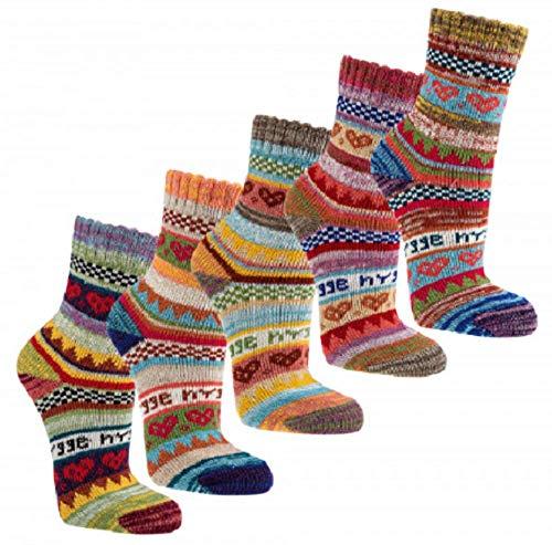 3 Paar bunte Norweger Hygge Socken 90% Baumwolle (39/42)