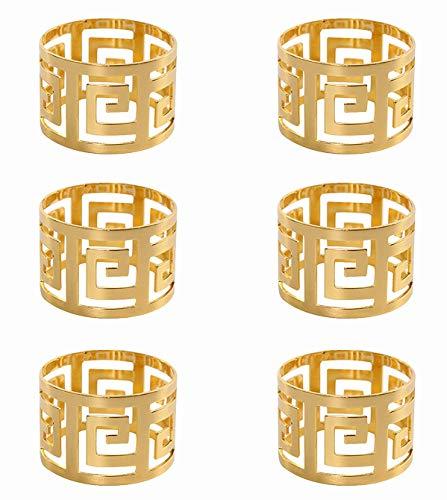 keland Serviettenring aus 6PX Gold, geeignet für Familienhochzeiten oder Hochzeitsfeiern (Gold)