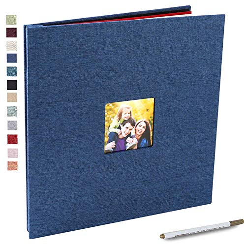 Self Adhesive Photo Album 3x5 4x6 5x7 8.5x11 Magnetic Scrapbook Album Hardcover DIY Photo Album Length 13 x Width 12.8 (Inches) with A Metallic Pen