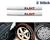 WEIß / WEISS 2x Stück Reifen Stift Reifenmarker Auto, Motorrad, Fahrradreifen Reifenmarkierungsstift Reifenstift Marker Stift Beschriftung wasserfest wetterfest -101934- INION