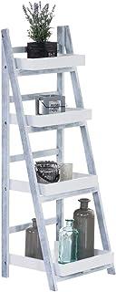 Estantería Escalera Dorin con 4 Estantes I Estantería Plegable en Estilo Rústico I Estantería Decorativa de Madera I Color...
