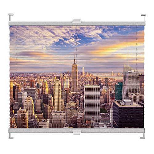 Plissee mit Motiv 7001 nach Maß Schrauben in Glasleisten Klemmen auf Fensterrahmen Digitaldruck Sichtschutz lichtdurchlässig fest verspanntes Jalousie Rollo Fenster innen Breite 75-99 Höhe 200-230 cm