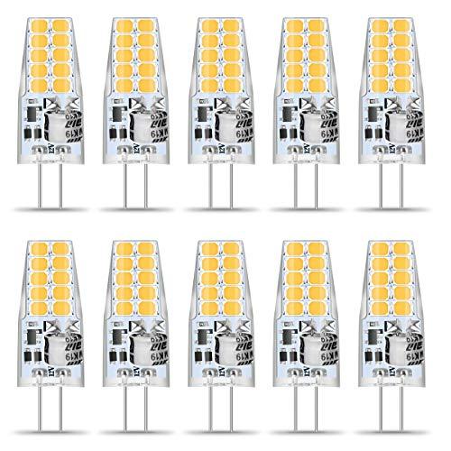G4 LED Warmweiss, 10er 3.5W G4 LED Birne, G4 12V LED Lampe Warmweiß 3000K 20x 2835 SMD Ersetzt 40W Halogenlampe, 400Lumen G4 LED Stiftsockellampe, Kein Flackern, 360° Abstrahwinkel Spot, Nicht Dimmbar