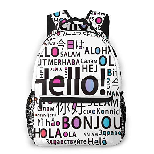 Laptop Rucksack Schulrucksack Übersetzen Sie Hallo Sprachen, 14 Zoll Reise Daypack Wasserdicht für Arbeit Business Schule Männer Frauen