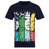 Marvel Comics - Camiseta oficial para niño - Con personajes de los cómics Hulk, Iron Man, Thor - Azul marino - 3-4 años