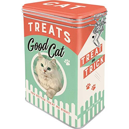 Nostalgic-Art Retro Blech Cat Treats Good Boy – Geschenk-Idee für Katzen-Besitzer, Dose für Leckerli mit Aromadeckel, Vintage Design, 1,3 l