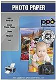 PPD Inkjet - A4 x 100 Hojas de Papel Fotográfico Brillante 180 g/m² - Secado Instantáneo - Para Impresoras de Inyección de Tinta - PPD-24-100