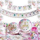Yidaxing 131 Pièces Décorations Anniversaires Licorne, Kit Partie Licorne Housse Nappe Couverture Happy Birthday Banner Sac Ballons De Licorne pour Enfants Anniversaire Filles (16 Invités)