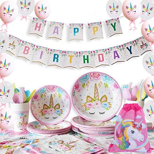 Yidaxing 131 Piezas Decoraciones Cumpleaños Unicornio, Unicorn Party Kit Mantel Cubierta Feliz Cumpleaños Banner Bolsa Globos Unicornio para Niños Cumpleaños Niñas (16 Invitados)