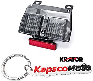Krator LED TailLights Brake Tail Lights with Integrated Turn Signals Indicators for 1994-2004 Ducati 748 916 996 Smoke Motorcycle + KapscoMoto Keychain