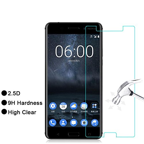 Mobizworld™ ultra clear, 9H hardness,2.5D Curved, shatterproof, anti explosion, scratch free, bubble free, oil resistant, reduced fingerprint tempered glass screen protector glass for Nokia 5
