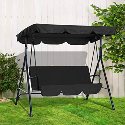BARGAINSGALORE 3 SEATER GARDEN SWING CHAIR SEAT HAMMOCK SWINGING METAL TERRACE CANOPY BENCH (Black)