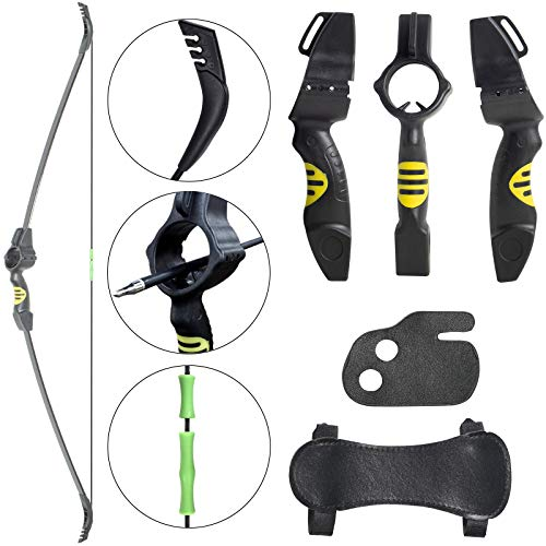Archery Kids Bow Archery Youth Gift Bow Rubber Riser Shoot Through Design for Right and Left Hand Kids Beginner Practice Shooters for Ages 5 to 10