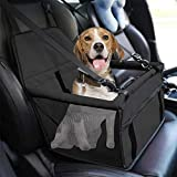 EEM Pet Reinforce Car Booster Seat for Dog/Cat,Waterproof Puppy Car Seat for Medium Pets Under 15 LB,Portable and Breathable with Seat Belt Dog Carrier,Safety Stable for Travel