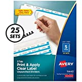 Avery 5-Tab Unpunched Binder Dividers, Easy Print & Apply Clear Label Strip, Index Maker, White Tabs, 25 Sets (11433)