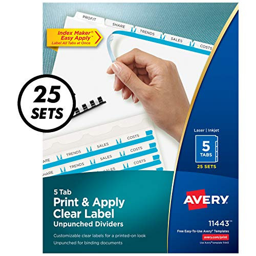 AVERY 5-Tab Unpunched Binder Dividers, Easy Print & Apply Clear Label Strip, Index Maker, White Tabs, 25 Sets (11443)