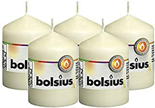 """BOLSIUS Set of 5 Ivory Unscented Dripless Pillar Candles Aprox 2.25"""" x 3.25"""" - Clean Burning Smokeless Dinner Candles for ..."""