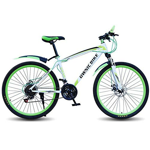 LZGBH Mountain Bike Freni A Doppio Disco 21 velocità Ammortizzatore Ammortizzatore 26 Pollici Bicicletta Uomo E Donna Tx-30 Diteggiatura Strumento di Viaggio Idealewhite Green