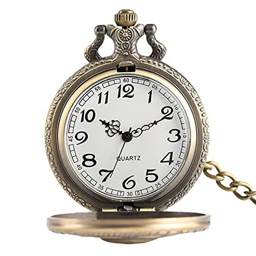 TYYW Reloj de Bolsillo de Cuarzo, Reloj de Bolsillo de Moda Estrellas de cráneo Esqueleto Talla Colgante Cadena rebelde gótico Reloj Hueco Hot Cool Regalos para Hombres