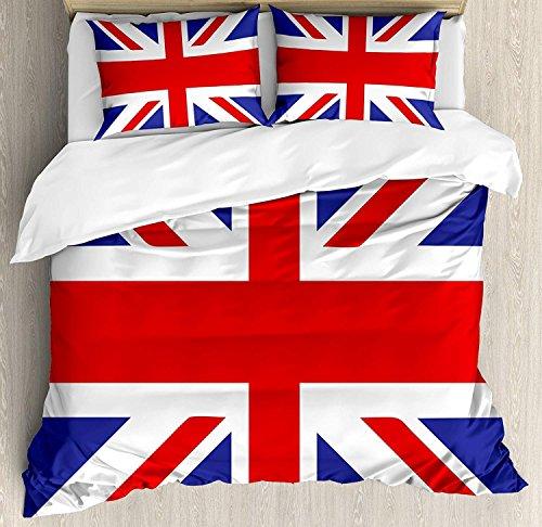 Bettwäscheset Union Jack, 3-tlg., Klassische Flagge des Vereinigten Königreichs, modernes britisches Loyalitätssymbol, Bettwäscheset, Tagesdecke für Kinder / Jugendliche / Erwachsene / Kinder, Königsb