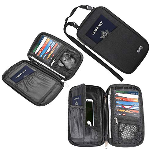 Travel Neck Pouch Passport Wallet with RFID Blocking,KEAFOLS Family Passport Holder Case Travel Document Zipper Organizer Bag Purse Keep Cash Cards Safe with Removable Strap