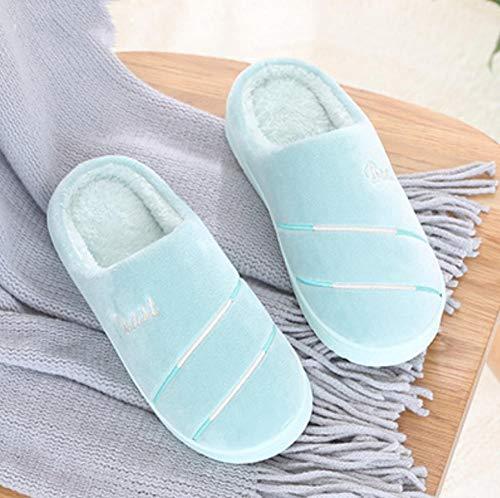 Zapatillas de interior cálidas zapatillas de dormitorio,Zapatillas gruesas y cálidas antideslizantes,zapatillas para el hogar de invierno-cyan_40-41,Zapatillas de hombre y mujer de felpa de algodón